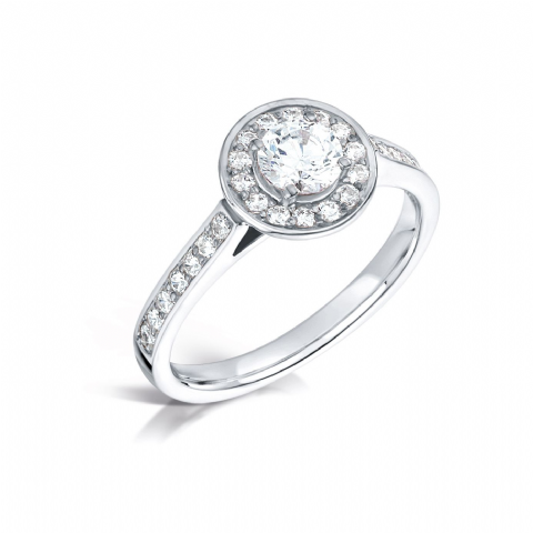 GIA Certified G VS Diamond cluster ring, Platinum Round brilliant centre stone - 0.75carat
